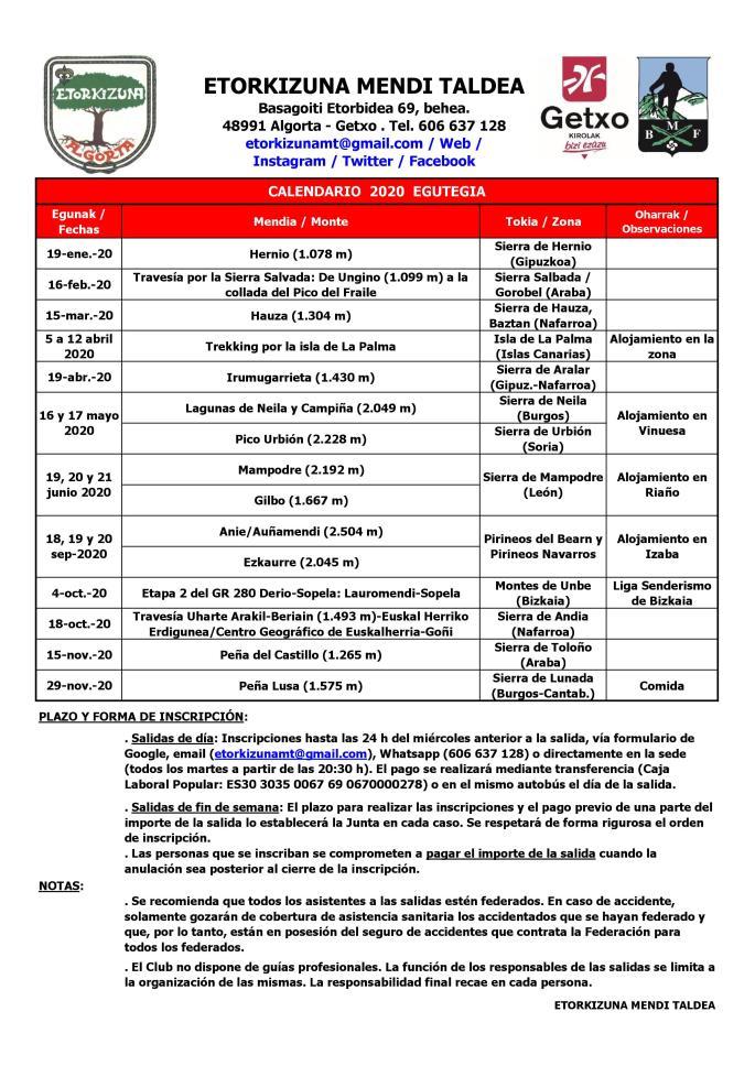 Etorkizuna MT Calendario 2020 Egutegia
